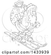 Cartoon Black And White Lineart Santa Claus Skiing With A Christmas Sack