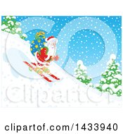 Clipart Of Santa Skiing Down A Snowy Hill With A Christmas Sack Royalty Free Vector Illustration by Alex Bannykh