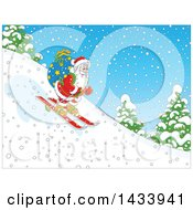 Clipart Of A Cartoon Santa Claus Skiing Down A Snowy Hill With A Christmas Sack Royalty Free Vector Illustration