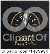 Clipart Of A Happy New Year 2017 Greeting With A Clock Over An Ornate Pattern Royalty Free Vector Illustration by KJ Pargeter