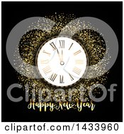 Clipart Of A Happy New Year Greeting With A Clock And Gold Glitter On Black Royalty Free Vector Illustration by KJ Pargeter