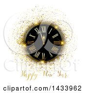 Clipart Of A Happy New Year Greeting With A Clock And Gold Glitter On White Royalty Free Vector Illustration by KJ Pargeter