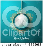 Clipart Of A Merry Christmas Greeting Under A Suspended 3d Bauble In A Gold Frame Over Snowflakes Royalty Free Vector Illustration