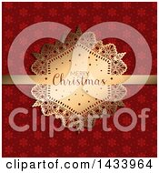 Clipart Of A Merry Christmas Greeting On A Gold Label Ribbon Over Red Snowflakes Royalty Free Vector Illustration