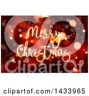 Clipart Of A Merry Christmas Greeting In Sparkle Lights Over Snowflakes And Red Flares Royalty Free Illustration