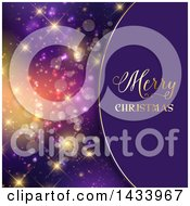 Clipart Of A Merry Christmas Greeting Over Purple With Colorful Flares Royalty Free Vector Illustration
