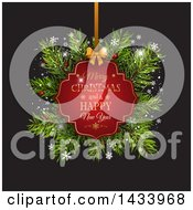 Clipart Of A Merry Christmas And A Happy New Year Greeting Tag With Fir Branches On Black Royalty Free Vector Illustration