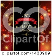 Clipart Of A Merry Christmas And A Happy New Year Greeting With Red And Gold Bokeh Flare Panels Royalty Free Vector Illustration