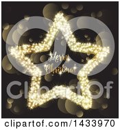 Clipart Of A Merry Christmas Greeting In A Star Over Gold Bokeh Flares Royalty Free Vector Illustration