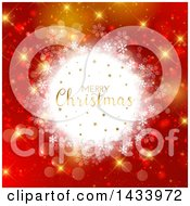 Clipart Of A Merry Christmas Greeting In A White Snowflake Frame Over Red And Gold Bokeh Royalty Free Vector Illustration