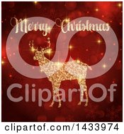 Clipart Of A Merry Christmas Greeting Over A Golden Flare Reindeer Over Red Bokeh And Snowflakes Royalty Free Vector Illustration
