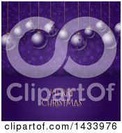 Clipart Of A Merry Christmas Greeting Under Suspended 3d Baubles On Purple Stars And Snowflakes Royalty Free Vector Illustration