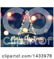 Clipart Of A Merry Christmas Greeting And Tree In Sparklers Over Bokeh Flares Royalty Free Illustration