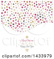 Clipart Of A Merry Christmas And A Happy New Year Greeting Under A Wave Of Icons On White Royalty Free Vector Illustration