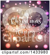Clipart Of A Merry Christmas And A Happy New Year Greeting Over Flares Royalty Free Vector Illustration