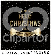 Clipart Of A Gold Merry Christmas And A Happy New Year Greeting With Stars Over Black With Golden Dots Royalty Free Vector Illustration