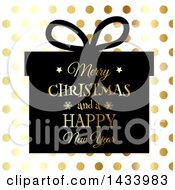 Clipart Of A Merry Christmas And A Happy New Year Greeting On A Silhouetted Gift Over Gold Dots Royalty Free Vector Illustration
