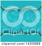Clipart Of A Beautiful Blue And Gold Background With Snowflakes Royalty Free Vector Illustration