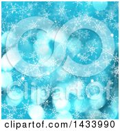 Clipart Of A Blue Flare And Snowflake Background Royalty Free Illustration