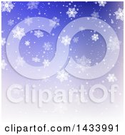 Clipart Of A Gradient Blue And Purple Background With Snowflakes Royalty Free Vector Illustration