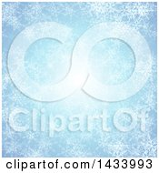 Clipart Of A Light Blue Ice Background With A Central Light And White Snowflakes Royalty Free Vector Illustration