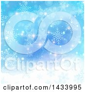 Clipart Of A Gradient Blue Watercolor Background With Christmas Flares And Snowflakes Royalty Free Vector Illustration