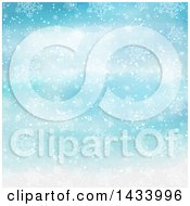 Clipart Of A Watercolor Blue Background With Snowflakes Royalty Free Vector Illustration