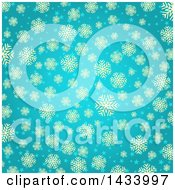 Clipart Of A Beautiful Turquoise Blue Background With Tan Snowflakes And Stars Royalty Free Vector Illustration