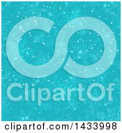 Clipart Of A Turquoise Blue Background Of Snowflakes Royalty Free Vector Illustration