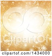 Clipart Of A Gold Snowflake Background With A Central Light And Flares Royalty Free Vector Illustration