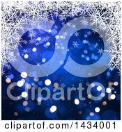 Clipart Of A Beautiful Blue Background With Bokeh Flares And An Upper Border Of White Snowflakes Royalty Free Illustration