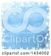 Clipart Of A Blue Watercolor Background With Splatters And A Border Of White Snowflakes Royalty Free Vector Illustration
