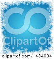 Clipart Of A Blue Winter Christmas Background With A Grungy Border Of White Halftone And Snowflakes Royalty Free Vector Illustration
