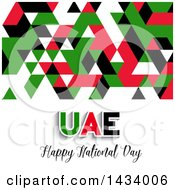 Clipart Of A Geometric United Arab Emirates UAE Happy National Day Design Royalty Free Vector Illustration