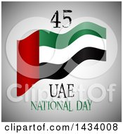 Clipart Of A UAE United Arab Emirates National Day Flag Design Over Gray Royalty Free Vector Illustration