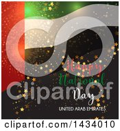 Clipart Of A United Arab Emirates Happy National Day Design With A Flag Stars And Fireworks Royalty Free Vector Illustration