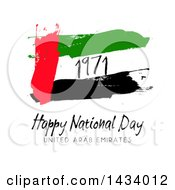 Clipart Of A Flag United Arab Emirates Happy National Day Design Over White Royalty Free Vector Illustration
