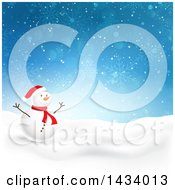 Happy Snowman In A Winter Landscape With A Blue Snowflake Background