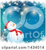 Happy Snowman Over Blue With Borders Of Flares And Snowflakes