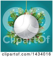 Clipart Of A 3d White Christmas Bauble Over Fir Branches With Snowflakes On Turquoise Royalty Free Vector Illustration