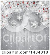 Clipart Of A Christmas Tree Branch Background With Suspended Snowflakes Over Wood Royalty Free Vector Illustration by KJ Pargeter