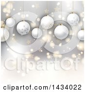 Clipart Of A Christmas Background Of 3d Hanging Ornament Baubles Over Stars And Bokeh Flares Royalty Free Vector Illustration