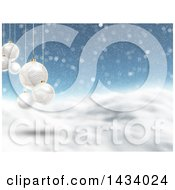 Clipart Of A 3d Hilly Winter Landscape With Snow Falling And Suspended White Bauble Christmas Ornaments Royalty Free Illustration
