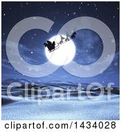 Clipart Of A Silhouetted Santa Flying His Magic Sleigh Over A Full Moon And 3d Snowy Landscape Royalty Free Illustration
