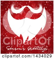 White Santa Beard And Mustache Over Seasons Greetings Text On Red With Snowflakes