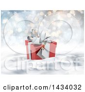 Clipart Of A 3d Christmas Gift In Snow With Snowflakes And Flares Royalty Free Illustration