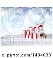 Clipart Of A 3d Christmas Reindeer And Presents In A Snowy Landscape With Flares Snowflakes And Stars Royalty Free Illustration