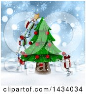 Clipart Of A 3d Present Characters Decorating A Christmas Tree In The Snow Royalty Free Illustration