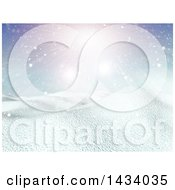 Clipart Of A 3d Hilly Winter Landscape With Snow Falling And Sunshine Royalty Free Illustration