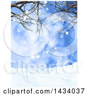 Clipart Of A 3d Winter Landscape With Snow Falling Bare Branches And Blue Sky Royalty Free Illustration